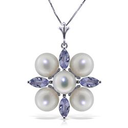 ALARRI 6.3 CTW 14K Solid White Gold High Expectations Tanzanite Pearl Necklace