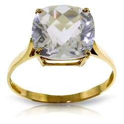 ALARRI 3.6 Carat 14K Solid Gold Ring Natural Checkerboard Cut White Topaz