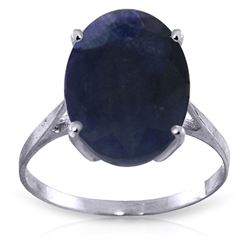 ALARRI 8.5 Carat 14K Solid White Gold Ring Natural Oval Sapphire