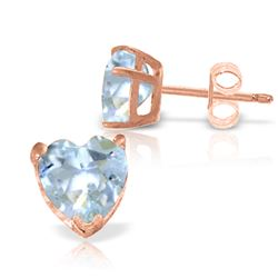 ALARRI 3.25 Carat 14K Solid Rose Gold Divinity Aquamarine Stud Earrings