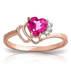 ALARRI 0.97 Carat 14K Solid Rose Gold Dainty Heart Pink Topaz Ring