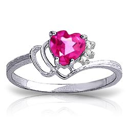ALARRI 0.97 Carat 14K Solid White Gold Insatiably Curious Pink Topaz Diamond Ring