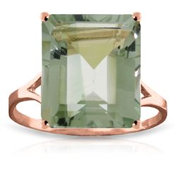 ALARRI 6.5 Carat 14K Solid Rose Gold Ring Natural Octagon Green Amethyst