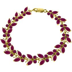 ALARRI 16.5 CTW 14K Solid Gold Butterfly Bracelet Natural Ruby