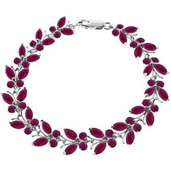 ALARRI 16.5 Carat 14K Solid White Gold Butterfly Bracelet Natural Ruby