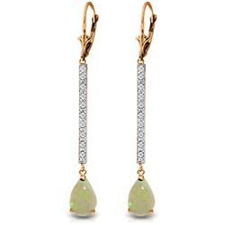 ALARRI 14K Solid Rose Gold Earrings w/ Diamonds & Opals