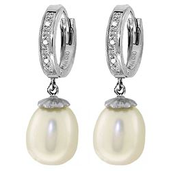ALARRI 8.03 Carat 14K Solid White Gold Huggie Earrings Diamond Pearl