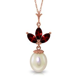 ALARRI 14K Solid Rose Gold Necklace w/ Pearl & Garnets