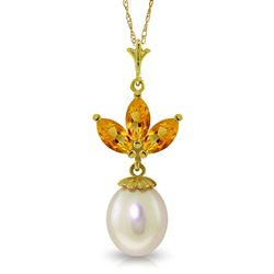 ALARRI 4.75 Carat 14K Solid Gold Necklace Pearl Citrine