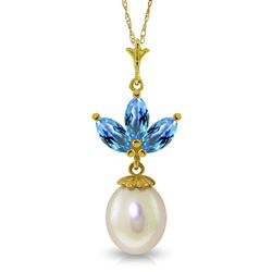 ALARRI 4.75 CTW 14K Solid Gold Necklace Pearl Blue Topaz