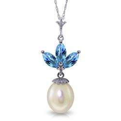 ALARRI 4.75 Carat 14K Solid White Gold Necklace Pearl Blue Topaz
