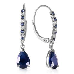 ALARRI 3.35 Carat 14K Solid White Gold Life At The Movies Sapphire Diamond Earrings
