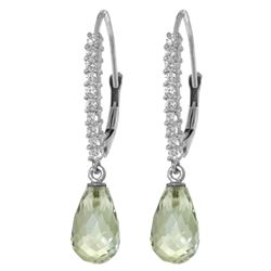 ALARRI 4.8 Carat 14K Solid White Gold Leverback Earrings Natural Diamond Green Amethyst