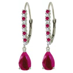 ALARRI 3.35 Carat 14K Solid White Gold Discover Your Strength Ruby Diamond Earrings