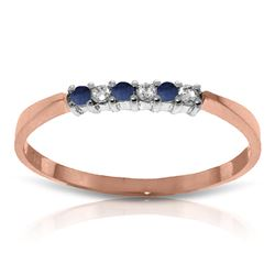 ALARRI 0.11 CTW 14K Solid Rose Gold Love Band Sapphire Diamond Ring