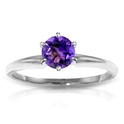 ALARRI 0.65 Carat 14K Solid White Gold Solitaire Ring Natural Purple Amethyst