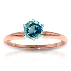 ALARRI 14K Solid Rose Gold Solitaire Ring w/ Natural Blue Topaz