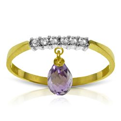 ALARRI 1.45 Carat 14K Solid Gold Ring Natural Diamond Dangling Amethyst