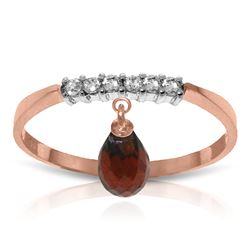ALARRI 1.45 Carat 14K Solid Rose Gold Ring Natural Diamond Dangling Garnet