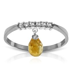 ALARRI 1.45 CTW 14K Solid White Gold Ring Natural Diamond Dangling Citrine