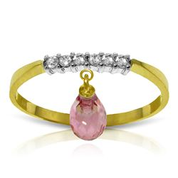 ALARRI 1.45 Carat 14K Solid Gold Ring Natural Diamond Dangling Pink Topaz
