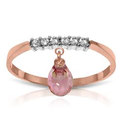 ALARRI 1.45 Carat 14K Solid Rose Gold Ring Natural Diamond Dangling Pink Topaz