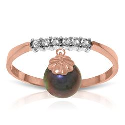 ALARRI 2.1 Carat 14K Solid Rose Gold Ring Natural Diamond Dangling Black Pearl