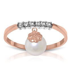 ALARRI 2.1 CTW 14K Solid Rose Gold Ring Natural Diamond Dangling Pearl