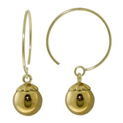 ALARRI 14K Solid Gold Circle Wire Earrings Ball Dangling