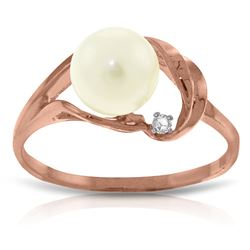 ALARRI 14K Solid Rose Gold Ring w/ Natural Diamond & Pearl