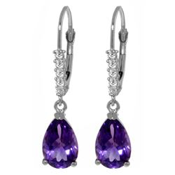 ALARRI 3.15 Carat 14K Solid White Gold Leverback Earrings Natural Diamond Amethyst