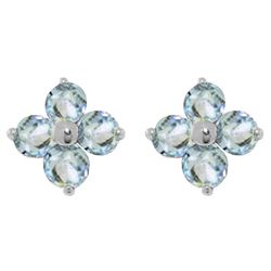 ALARRI 1.15 CTW 14K Solid White Gold Love Beam Aquamarine Earrings