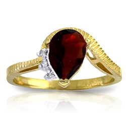 ALARRI 1.52 Carat 14K Solid Gold Sole Partner Garnet Diamond Ring