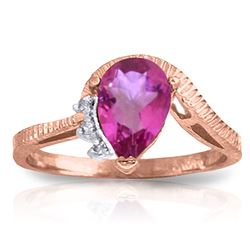 ALARRI 1.52 Carat 14K Solid Rose Gold Azur Pink Topaz Diamond Ring