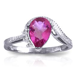 ALARRI 1.52 CTW 14K Solid White Gold Feel Appreciated Pink Topaz Diamond Ring