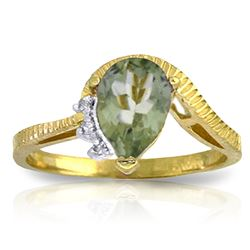 ALARRI 1.52 Carat 14K Solid Gold Ring Diamond Green Amethyst