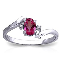 ALARRI 0.46 Carat 14K Solid White Gold Rings Natural Diamond Pink Topaz