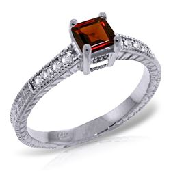 ALARRI 0.65 Carat 14K Solid White Gold Embrace Courage Garnet Diamond Ring