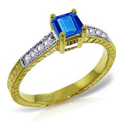 ALARRI 0.65 Carat 14K Solid Gold Your Chance Blue Topaz Diamond Ring