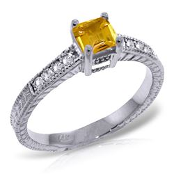 ALARRI 0.65 CTW 14K Solid White Gold Different Hours Citrine Diamond Ring