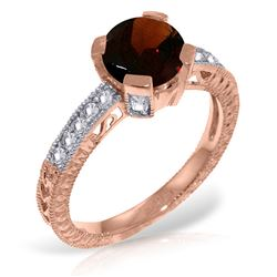 ALARRI 14K Solid Rose Gold Ring w/ Natural Diamonds & Garnet