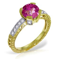 ALARRI 1.8 Carat 14K Solid Gold Someday Soon Pink Topaz Diamond Ring