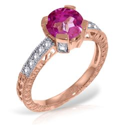 ALARRI 14K Solid Rose Gold Ring w/ Natural Diamonds & Pink Topaz