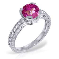 ALARRI 1.8 CTW 14K Solid White Gold Sincere Thanks Pink Topaz Diamond Ring