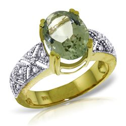ALARRI 3.2 CTW 14K Solid Gold Ring Natural Diamond Green Amethyst