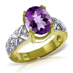 ALARRI 3.2 Carat 14K Solid Gold True Partnership Amethyst Diamond Ring
