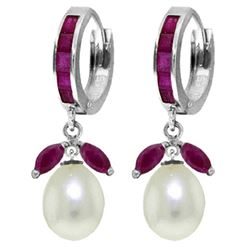 ALARRI 10.3 Carat 14K Solid White Gold Reveal The Magic Ruby Pearl Earrings