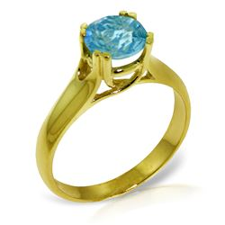ALARRI 1.1 Carat 14K Solid Gold Contemplate A Smile Blue Topaz Ring