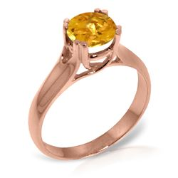 ALARRI 14K Solid Rose Gold Solitaire Ring w/ Natural Citrine