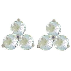 ALARRI 1.5 Carat 14K Solid White Gold Horizon Of Love Aquamarine Earrings
